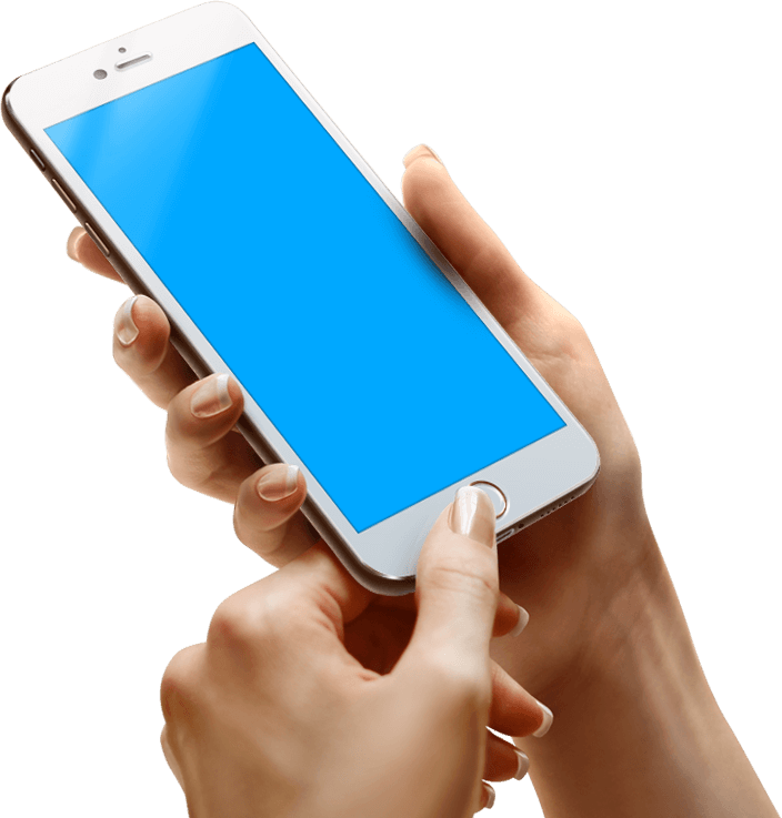 hand holding phone blue